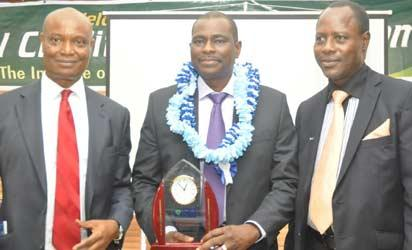 (L-R) First Vice President, Institute of Credit Administration (ICA), Andy Ojei; MD/ CEO Airtel Nigeria, Segun Ogunsanya and the Registrar, ICA, Dr Chris Onalo during the presentation of ICA 2013 Credit Personality Award at the 2013 Institute of Credit Administration (ICA) Mandatory Credit Management Specialist Conference held in Lagos on Saturday.