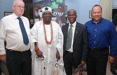 *From left:  Patrick Fay, Irish Ambassador to Nigeria; HRH Oba Dr Olurotimi Fagbenro; the Oloke Odan of Oke-Odan;  Rotimi Adebari, the first elected black African Mayor in Ireland and  Victor Oladokun, 3D Global Leadership, at the recently launched Irish Mayor Liqueur in Abuja.
