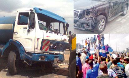 From left,  The truck  SUV at the scene of the accident and protesters on the trailer tanker. Photos: Uju Mbanusi.