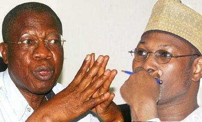 Alhaji Lai Mohammed and INEC Boss Prof Attahiru Jega