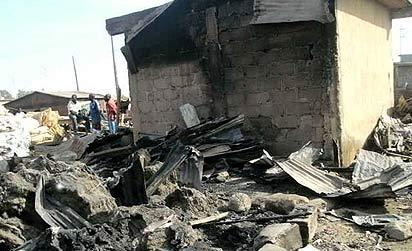 *The charred remains of 'Katako' market after the inferno
