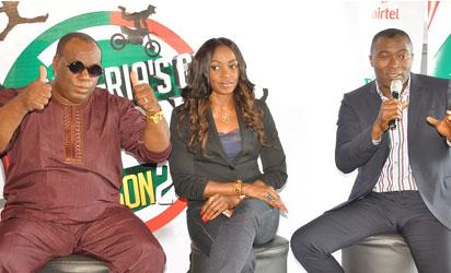From left, NGT Judges in the on-going Season Two,  American-born on-air presenter, Dan Foster; Nollywood Actress, Kate Henshaw and Yibo Koko.