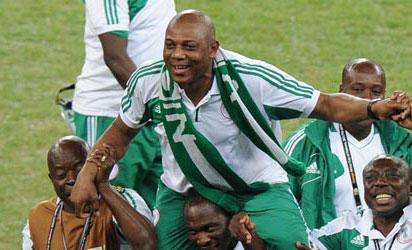 CELEBRATION... Super Eagles lifting their coach, Stephen Keshi high in celebration after winning the Africa Nations Cup in South Africa. Will they celebrate again in Calabar today after qualifying for the 2014 World Cup at the expense of Ethiopia