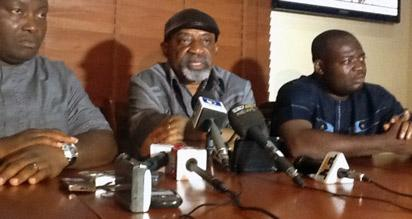 From Left; Labour Party candidate, Dr. Ifeanyi Ubah, All Progress Congress candidate Dr Chris Ngige and People Democratic Party candidate Comrade Tony Nwoye at a joint press conference by the three candidates in Awka, Sunday.