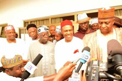 Some of the faces at the merger includes Ogbonaya Onu, nPDP chairman, Kawu Baraje, Senator Bukola Saraki, Governor Rotimi Amaechi, former Lagos Governor, Bola Tinubu, chair of the APC, Chief Bisi Akande,