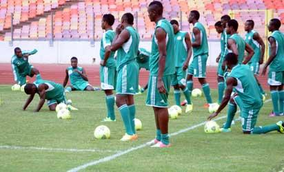 Home Based Super Eagles training for the African Nations Championship (CHAN 2014) in  Abuja on Monday (6/1/14). The Team Departs Abuja on Tuesday for the Championship Starting From Jan.  11 in South Africa.