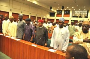 File: PDP and House Members meeting— Cross Section of governors at the PDP National Working Committee  meeting with members of the House of Representatives in Abuja, Tuesday. Photo:  Gbemiga Olamikan.