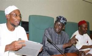 From left, Governor state of Osun Ogbeni Rauf Aregbesola, APC National leader Asiwaju Bola Ahmed Tinubu, former governor of Abia state, Dr Ogbonaya Onu, at a caucus meeting with APC members in the House of Representatives, held at the National Assembly complex, Abuja on Tuesday 04-02-2014