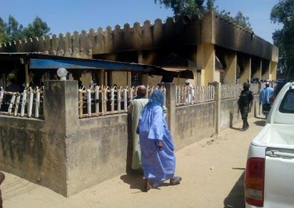 mass burial at the destroyed central mosque in Konduga Council Area on Wednesday