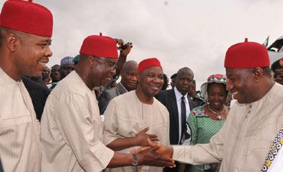 JOnathan in Imo—From left: Deputy Speaker House of Representatives, Emeka Ihedioha; Senate President, Sen. David  Mark; Vice-President Mohammed Namadi Sambo and President Goodluck  Jonathan ,on arrival for the Pdp  sensitization rally  at the Imo State Airport on Saturday. Photo: State House.