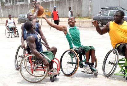 *PLAYTIME: Wheelchair basketballers doing their thing