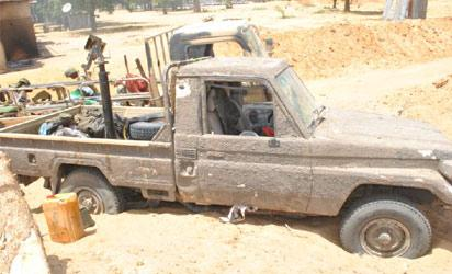 One of the vehicle used by the insurgents on Friday