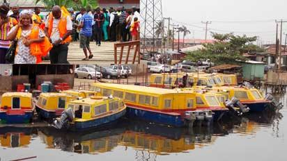 *MOURNING: Boat operators at Majidun Jetty, Ikorodu, suspended ferry services in honour of the victims of Wednesday's boat mishap that claimed seven lives. INSET: Stranded passengers redirected to the Metro Jetty, Ikorodu, yesterday. NAN PHOTOS.