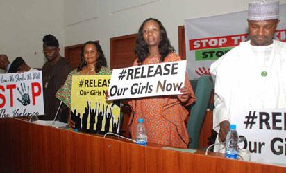 L-r: Rotimi Makinde, Evelyn Ojakovo, Beni Lar  and Khamisu Mailantarki, during the House committee on Human Rights campaign for the release of the kidnapped school girls in Abuja.