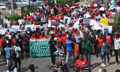 Protest against the abduction of the Chibok female students spread to Ogun and Ondo states from Lagos and Abuja, yesterday. Above: Protesters marching to the office of the Lagos State Governor in Lagos. Below left: Protesters in Abeokuta, Ogun State. Below right: Protests in Ondo. Photos: Bunmi Azeez.