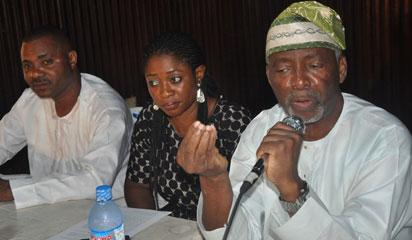 L-r ..National Publicity Secretary, South  West, Unity Party Of Nigeria (UPN)Comrade Dare Adesope,National Financial Secretary Mrs Felicia Oridani,National Chairman (UPN) Dr Frederick Fasehun at the Press Conference on the insecurity Currently troubling the Country Organized by (UPN) held in Lagos on 12/5/2014