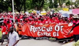 PARTY (APC) IN LAGOS STATE  LED BY SEN. OLUREMI TINUBU PROTESTING OVER THE ABDUCTION OF OVER 200 CHIBOK  SCHOOL GIRLS IN LAGOS ON TUESDAY (13/5/14).