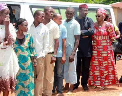 Governorship Candidate, All Progressives Congress, APC, Dr Kayode Fayemi; with his wife, Erelu Bisi Fayemi, (1st and 2nd right) on the queue at Ogilolo Ward, Isan-Ekiti... on Saturday.
