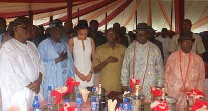 Pix from left Aremo Olusegun Osoba, former Governor of Ogun State; Asiwaju Bola Ahmed Tinubu, former Governor of Lagos State; a guest; Comrade Adams Oshiomole, Governor of Edo State; Governor Emmanuel Uduaghan of Delta State and Mr Sam Amuka, Publisher of Vanguard Newspapers during the reception of guests to round off the burial ceremony for Late Mrs Ariteshoma Abeji Amuka-Pemu, mother of Mr Sam Amuka at Sapele, Delta State on Saturday