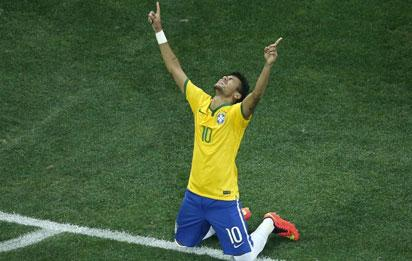 Neymar celebrates his first goal.... AFP