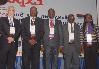 """From left: Mr. Keith Richards, Chairman, Promasidor Nigeria Limited, Dr. Austin Nweze, President, Association of Outsourcing Practitioners of Nigeria, AOPN, Mr. Segun Ogunsanya, MD/CEO, Airtel Nigeria Ltd, Mr. Gbenga Adefaye, General Manager (Publications)/Editor-in-Chief, Vanguard Newspapers and, Mrs. Ify Osineme, General Manager, Vic Lawrence & Associates, during the 2014 Outsourcing Expo, with the theme """"Managing the Successful Transition to Outsourced Services'' organised by AOPN, with Vanguard as Media Partner, at Muson Centre, Onikan, Lagos."""