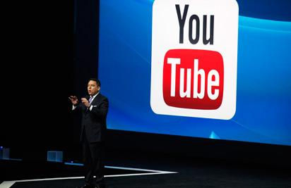 LOS ANGELES, CA - JUNE 9: Sony President Andrew House introduces Sony's new business relationship with YouTube at their press conference at E3 June 9, 2014 in Los Angeles, California. The annual video game conference and show runs from June 10-12.   Dan R. Krauss/Getty Images/AFP