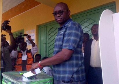 Ayo Fayose casting his vote yesterday...
