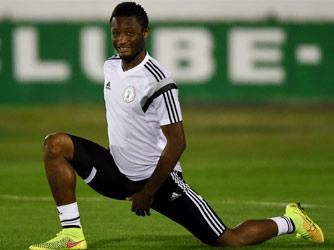 BRAZIL, Campinas : Nigeria's midfielder John Obi Mikel takes part in a training session in Campinas, Sao Paulo, on June 18, 2014, during the 2014 FIFA Football World Cup. AFP PHOTO