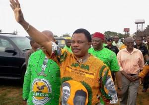 Obiano acknowledging cheers from his supporters at a recent function in the state