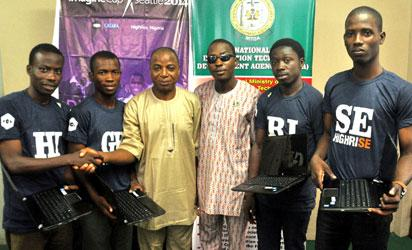NITDA supports Team High Rise : Adefioye Temidayo, Oyebisi Jemil, Engineer Iorver Ape , Principal Software Officer, PSO,  National Information Technology Development Agency, NITDA,  Lagos office, Okafor Chukwuemeka  from Director General's office, Faleye Benjamin, and  Bello Ibraheem at the weekend in Lagos during th e presentation of digital tools to members of Team Nigeria  by NITDA for 2014 Microsoft Imagine Cup students software competition kicking off tomorrow in Seattle, Washington.