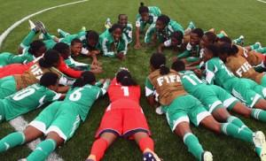 CELEBRATION: Falconets celebrate after the FIFA U-20 Women's World Cup match against New Zealand at Moncton   in Moncton, Canada, Sunday night. Photo: FIFA.