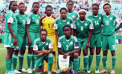 Players of Nigeria pose for a team photo prior to the FIFA U-20 Women's World Cup Canada 2014 group C match between Korea Republic and Nigeria at Moncton Stadium on August 9, 2014 in Moncton, Canada. (Photo  FIFA)