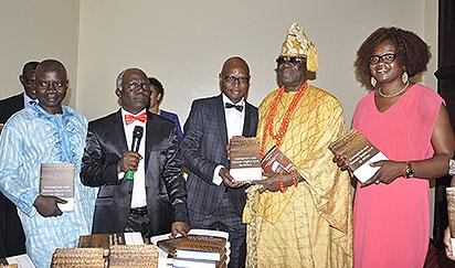 From Left;Mr Wale Adeoye Represent Governor Kayode Fayemi Of Ekiti State,Femi Falana SAN;Chairman Of the Occassion,Mr Kolawole Olaniyan The Author Of the Book;His Royal Majesty,Oba Rilwanu Akiolu,The Oba Of Lagos And Mrs Helen Olaniyan Wife Of the Author.At the Public Presentation Of Book Corruption And Human Rights Law in Africa held at Sheraton Hotel Ikeja Lagos.PHOTO;AKEEM SALAU.