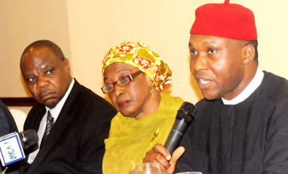 From left: Commissioner, Accident and Investigation Bureau, Dr Felix Abali;  Permanent Secretary, Federal Ministry of Aviation, Dr Jumaila Shu'ara and Minister, Chief Osita Chidoka  at  a news conference in lagos on tuesday