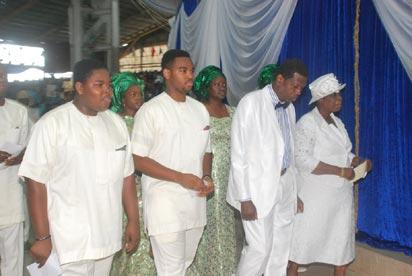 Pix from right Pastpr (Mrs) Folu Adeboye; Pastor Enoch Adeboye, General Overseer, Redeemed Christian Church of God and other members of the family dancingl during the Ordination of Pastors and Thanksgiving service to mark the end of the 62nd Convention of RCCG on sunday.  Photo Lamidi Bamidele