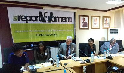L-R – Mrs Dupe Olaoye-Osinkolu, Chairperson National Association of Women Journalists (NAWOJ); Ms Sonia Odije, Officer at Royal Netherlands Embassy; Mr Taco Westerhuis, Senior Economic Officer with the Embassy; Ms Motunrayo Alaka, Coordinator ,Wole Soyinka Centre for Investigative Journalism (WSCIJ); and Mr Dapo Olorunyomi, WSCIJ Founder, at the Stakeholders' inception meeting for the Report Women! project hosted by the Wole Soyinka Centre and the Netherlands Embassy in Nigeria