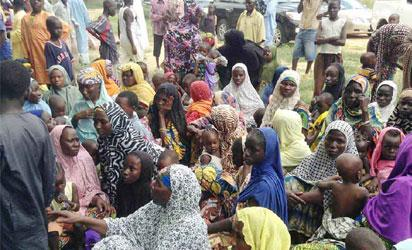 DISPLACED—Some Internally Displaced Persons (Idps) during the visit of Gov Kashim Shettima of Borno State to their camp in Maiduguri, weekend. Photo: NAN.
