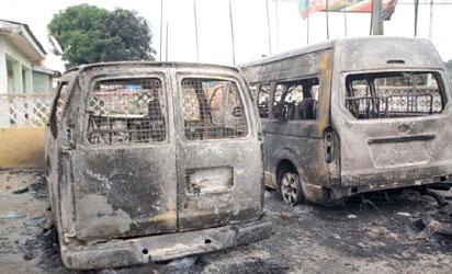 Some buses burnt by thugs in Ekiti