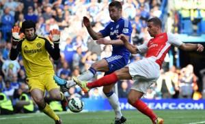 Chelsea's Czech goalkeeper Petr Cech (L) and English defender Gary Cahill (C) defend a shot on goal from Arsenal's Polish-born German striker Lukas Podolski (R) during the English Premier League football match between Chelsea and Arsenal at Stamford Bridge in London on October 5, 2014. Chelsea won the game 2-0. AFP PHOTO