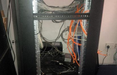 A vandalised server in the APC Lagos office
