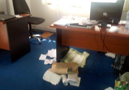 The office after the raid.