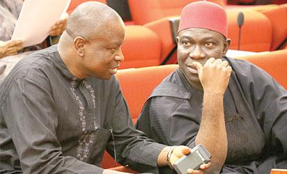 Breaking: Rowdy Session as PDP Senators prevent colleague from dumping the party