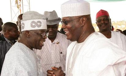 Former Vice President and presidential aspirant of All Progressives Congress (APC), Atiku Abubakar and national leader of APC, Asiwaju Bola Tinubu at the declaration of rally of Governor Abdulfatah Ahmed in Ilorin, Kwara State on Wednesday.