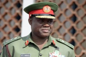 """Chief of Nigerian army staff Lt.General Kenneth Minimah  attend the commissioning ceremony of the """"NNS Centenary"""", an offshore patrol vessel built by Chinese Shipbuilding and Industry Corporation (CSIC) for Nigerian Navy, on February 19, 2015 in Lagos.  Nigerian President Jonathan commissioned into the service of Nigerian Navy four patrol vessels to enhance maritime surveillance, protection of offshore resources and infrastructure. One of the vessels, a frigate was acquired from the US Coast Guard, and one of two others built by Chinese firm was donated by the Chinese government to its Nigerian counterpart.    AFP"""