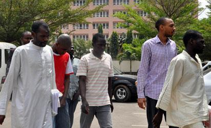 DSS Arraigned Nyanya Bombers : Department of State Security yesterday arraigned alleged Master minders of Nyanya Moto Park  Bomb Blast on April 14, 2014. They are: Aminu Sadiq Ogwuche, Adamu Yusuf, Anas Isah, Yau Saidu  Muhammadu Sani Ishaq and Ahmed Rufai  Abubakar (a.k.a. Abu Ibrahim/Maiturare) at Federal High Court  Abuja. Photo by Gbemiga Olamikan.