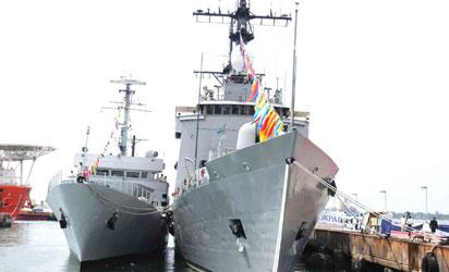 WARSHIPS—President Goodluck Jonathan, yesterday, in Lagos, inaugurated four warships acquired by the Navy.