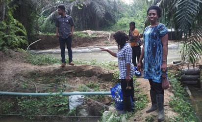 Mrs  Asonye in her fish farm at Eriwe, Ijebu Ode.