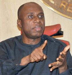 BRIEFING: Governor Rotimi Amaechi of Rivers State  during a Press briefing on poltically motivated violence and deaths in Rivers State. yesterday. Photo: Nwankpa Chijioke.