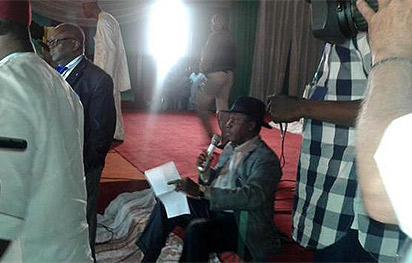 File: Elder Orubebe at the INEC collation centre