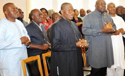 FROM LEFT: PRESIDENT GOODLUCK JONATHAN;  GOV. SERIAKE DICKSON OF BAYELSA;EXECUTIVE SECRETARY,NIGERIA CHRISTIAN PILGRIMS COMMISSION, MR JOHNKENNEDY OPARA AND OTHERS DURING GOOD FRIDAY CHURCH SERVICE AT ASO VILLA CHAPEL, PRESIDENTIAL VILLA ABUJA ON FRIDAY (3/4/15)